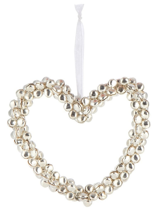 Silver Bells Heart-Shaped Christmas Decoration -