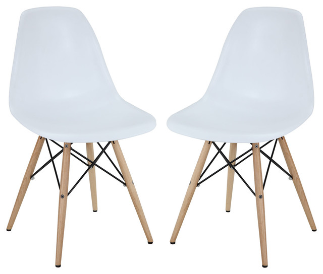 Pyramid dining side chairs set of 2 in white modern for White plastic dining chair