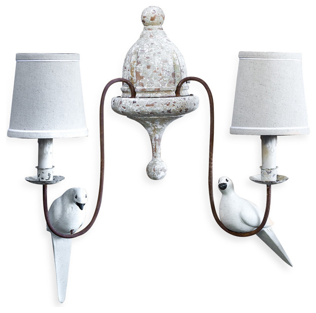 Moliere french country 2 light rusted arm doves sconce for French country bathroom lighting