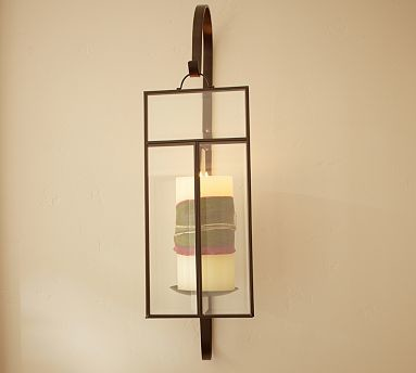 Traditional Wall Sconces With Candles : Paned Glass Wall-Mount Candle Sconce - Traditional - Candleholders - by Pottery Barn