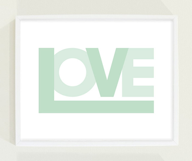 Mint Green Love Print Nursery Wall Art by Field Trip contemporary nursery decor