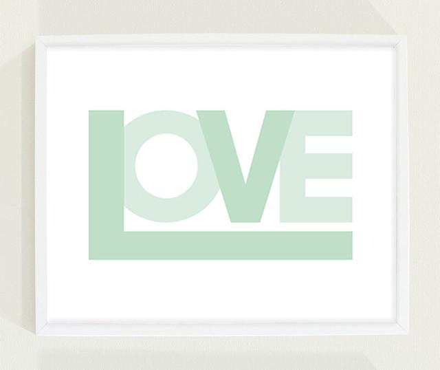 Mint Green Love Print Nursery Wall Art by Field Trip contemporary-nursery-decor