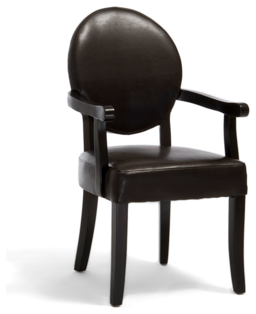 Barrington Brown Leather Arm Chair Transitional Dining