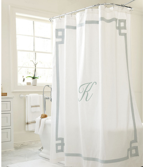 Suzanne kasler greek key linen shower curtain for Greek style bathroom design