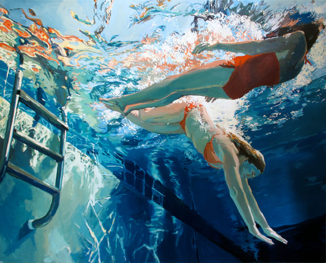 Underwater Swimmer Oil Paintings Contemporary Artwork