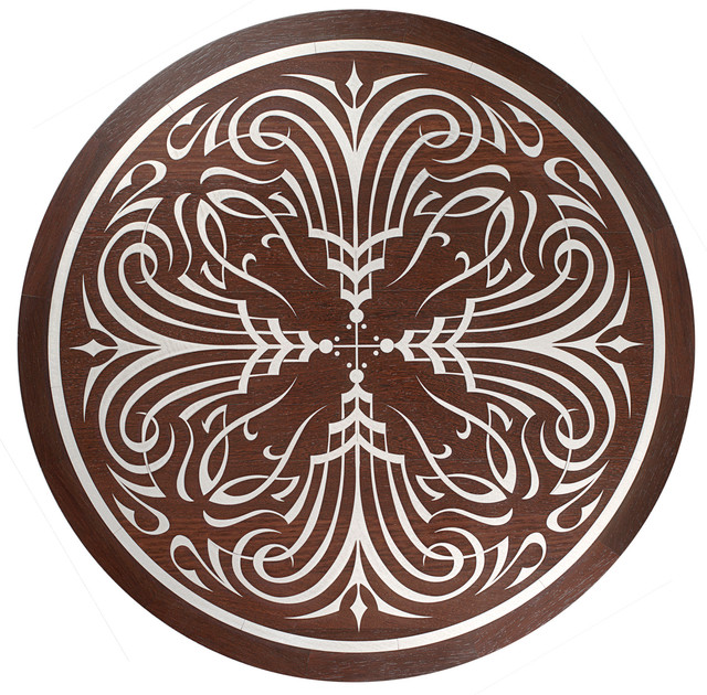 Oshkosh designs alhambra inlay medallion modern for Wood floor medallion designs