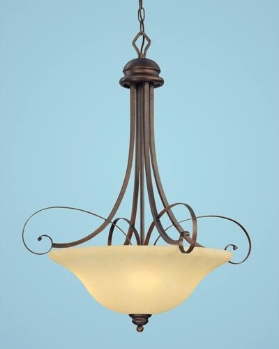 Chateau Rubbed Bronze Four-Light Pendant with Turinian Scavo Glass modern-ceiling-lighting