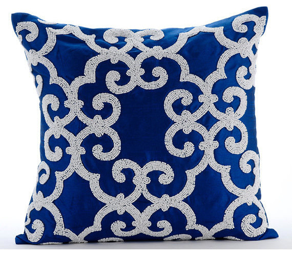 Throw Pillows Royal Blue : Royal Arabic Blue Silk Throw Pillow Cover, 20x20 - Contemporary - Decorative Pillows - by The ...