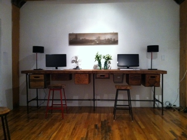 reclaim wood custom work station desk desks and hutches chicago