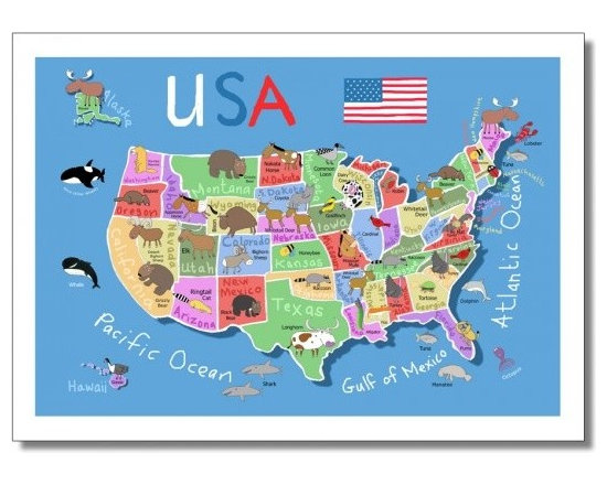Children's Wall Maps - Illustrated wall map of USA by Carla Daly.