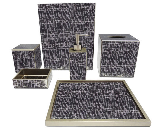 Waylande Gregory Brown Crackle Bathroom Set - Give your bathroom the spa makeover it deserves with this exquisite set of bathroom accessories. Each piece is done in dramatic brown hue and features a sleek crackle finish that adds to the allure. Purchase a few pieces individually to make a modest impact in your powder room or commit to the entire set to really transform your space.