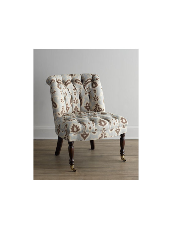 "Haute House - Haute House ""Middy"" Chair - Exclusively ours. Ikat meets paisley and the result is this delightful tufted chair. Alder wood frame. Cotton/linen upholstery. Hand-painted stain finish on legs. Finished back. 26""W x 29.5""D x 34""T. Handcrafted in the USA. Boxed weight, approx..."
