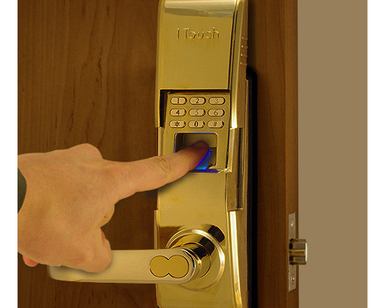 1TouchIQ2 Polished Brass Fingerprint Door Lock - The 1TouchIQ2 allows access into a room of any style with a fingerprint, pin code, or key.