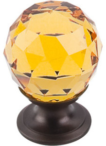 """Amber Crystal Knob 1 1/8"""" w/ Oil Rubbed Bronze Base modern-knobs"""