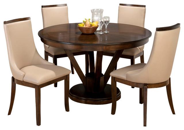 jofran webber 6 piece round pedestal dining room set in