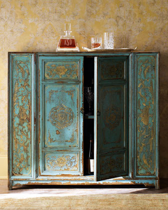 Hand-Painted Wood Cabinet traditional-storage-units-and-cabinets