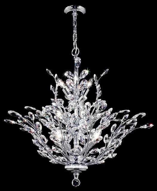 James r moder florale collection silver chandelier traditional chandeliers - Traditional crystal chandeliers ...