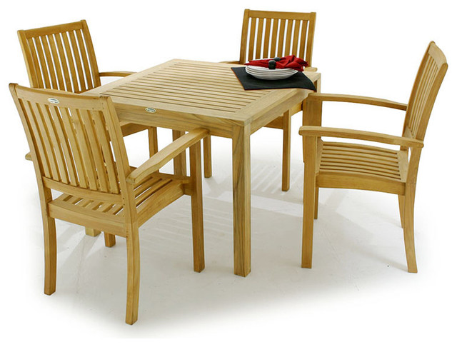 """Bistro 36"""" Teak Dining Table modern-outdoor-dining-tables"""