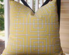 Dwell Studio Fretscene Canary Yellow Pillow Cover  pillows