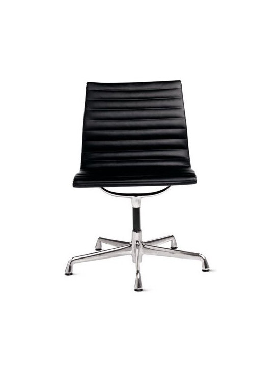 Herman Miller - Eames Aluminum Side Chair Polished Frame - When Charles and Ray Eames designed the Eames Aluminum Management Chair and Side Chair (1958), they created a revolution in seating that has lost none of its edge. These chairs were originally developed as a special project for a private residence being designed by Eero Saarinen and Alexander Girard. Moving away from the Eameses' shell forms of the 1940s, the designers combined a newly affordable aluminum frame with a sling seat that subtly conforms to the body's shape. This original is an authentic, fully licensed product of Herman MillerÆ, Inc. Eames is a licensed trademark of Herman Miller. Made in U.S.A.†