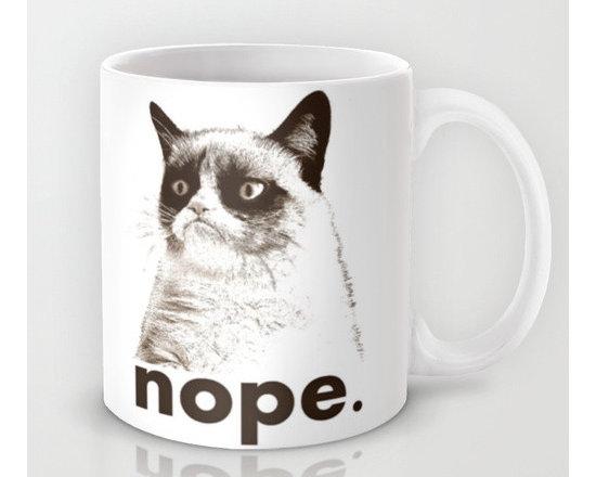'Nope' Grumpy Cat Mug by John Medbury -