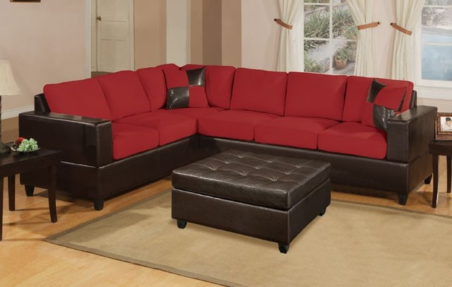 Contemporary 2 Pieces Red Microfiber Sectional Sofa Set Couch Contemporary Sectional Sofas