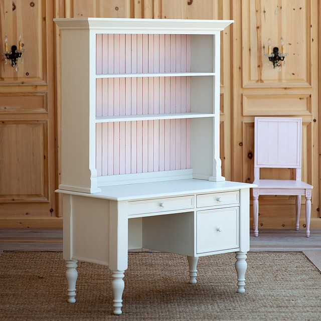 Small Library Desk with Top Hutch - Traditional - Desks And Hutches - new york - by Coach Barn