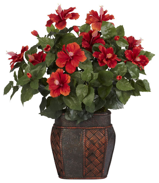 Hibiscus with Vase Silk Plant contemporary-indoor-pots-and-planters