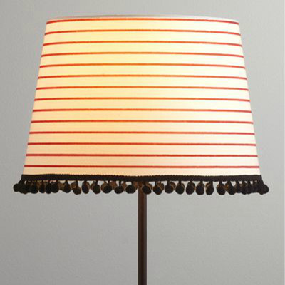 Red Stripes & Pom Pom Accent Lamp Shade modern-lamp-shades