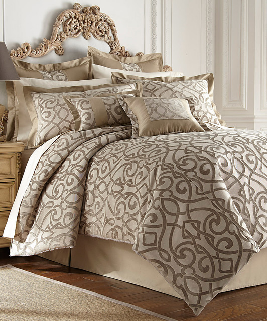 Taupe Danika Eight Piece Comforter Set Modern Comforters
