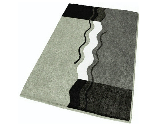 "Large Modern Grey Bath Rug (23.6"" x 39.3"") - This contemporary large grey bathroom rug is machine washable and non-slip / non-skid. Made from soft polyacrylic yarn which is warm, absorbent and dries quickly.  High quality densely woven .98in pile.  Our grey bath mat is durable, mold and mildew resistant.  Unique sculpted pile with color tones including black, platinum grey, anthracite grey and slate grey."