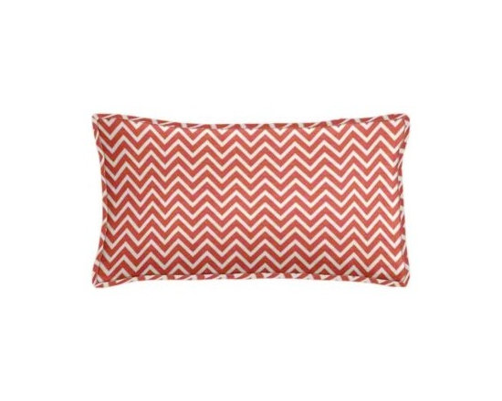 "Cushion Source - Coral Chevron Lumbar Pillow - The 20"" x 12"" Coral Chevron Lumbar Pillow features a small geometrical coral and white zig zag chevron pattern."