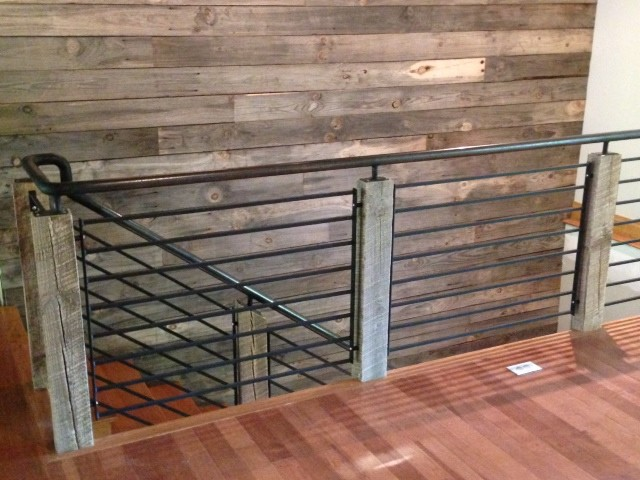 Reclaimed Wood and Steel Railing - Industrial - Staircase ...