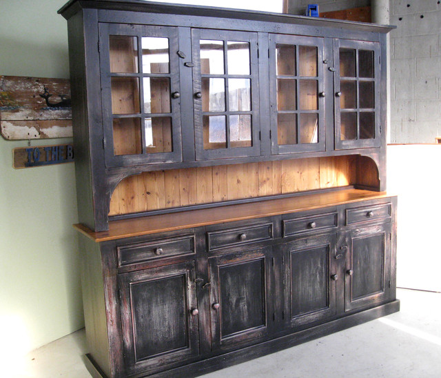 Country Kitchen Hutches: Large Reclaimed Wood Hutch