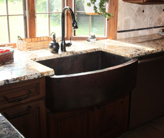 Copper Apron Front Sink : Hammered Copper Apron Front Sink - Traditional - Kitchen Sinks ...