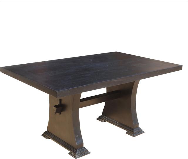 Trestle pedestal mission solid wood dining room table for Pedestal trestle dining table plans
