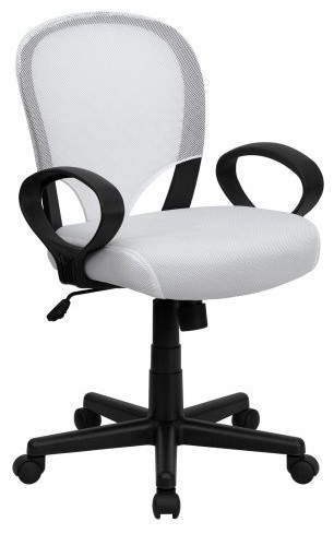 Flash Furniture Mid-Back Office Chair with Oval Loop Arms White contemporary-task-chairs