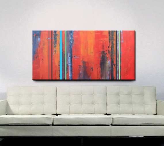 Original Abstract Acrylic Painting by Red Moon Studio Art eclectic artwork