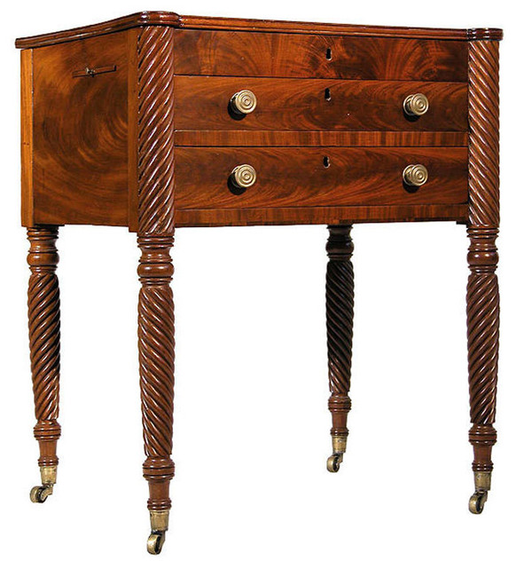 Sheraton Three-Drawer Worktable with Opposing Rope Legs traditional-dressers-chests-and-bedroom-armoires