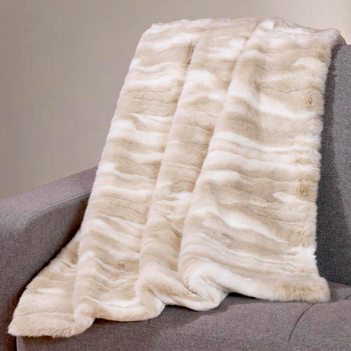 Ivory Faux Fur Throw contemporary-throws