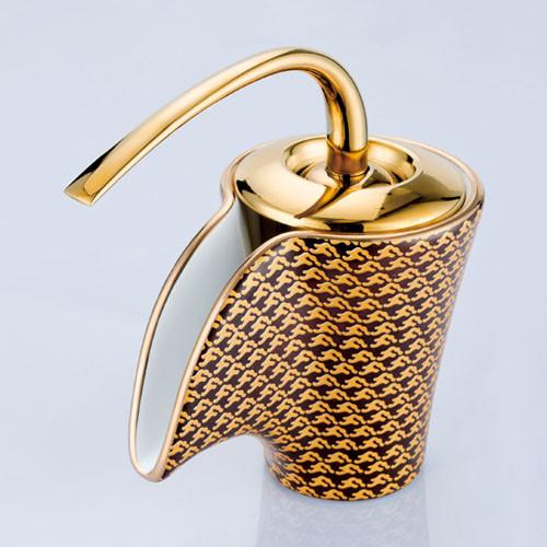 Single Handle Ceramic Waterfall Bathroom Vessel Faucet 102R modern-bathroom-faucets-and-showerheads