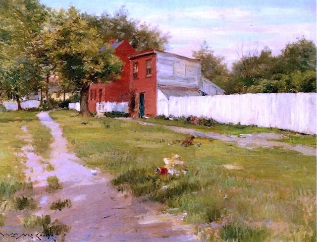 "William Merritt Chase The White Fence - 18"" x 24"" Premium Archival Print traditional-artwork"
