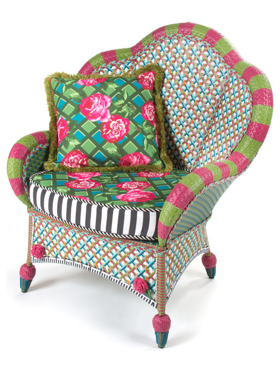 Greenhouse Outdoor Fan Back Chair | MacKenzie-Childs - The glorious hues of summer inspire the Greenhouse Collection. Intricately woven of resin wicker in shades of green, pink, white, and orange, and embellished with acrylic roses and leaves. Reversible outdoor cushion displays a rose-on-lattice pattern on one side and a vibrant graphic plaid on the other, and black and white awning stripe boxing. Solid iron frame. Sturdy, easy care, and made to withstand the elements. Includes one Greenhouse Outdoor Throw Pillow.