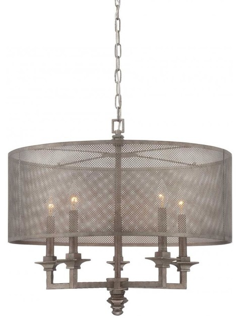 Five Light Metal Mesh Shade Aged Steel Drum Shade  : contemporary chandeliers from www.houzz.com size 474 x 640 jpeg 55kB