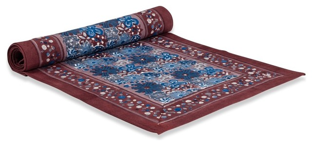 """Candy Flower Runner, Blue/Brown, 16""""x72"""" traditional-tablecloths"""