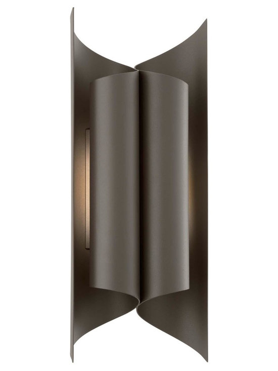 """Troy Lighting Kinetic LED 19"""" Coastal Outdoor Sconce - Troy Lighting presents the Kinetic Collection's 16-Light outdoor wall sconce in a Bronze finish. This fixture is constructed from Solid Aluminum and requires a LED bulb. Dimensions: 19"""" high by 7.5"""" wide; extends 4"""" from surface. This is a Coastal fixture, meaning it's hardy and well-suited for seaside environs."""