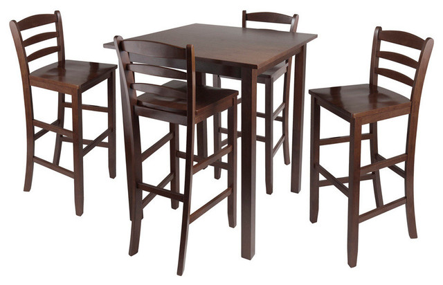Winsome Wood Parkland 5 Piece High Table w/ 29 Inch Ladder Back Stools contemporary-dining-sets