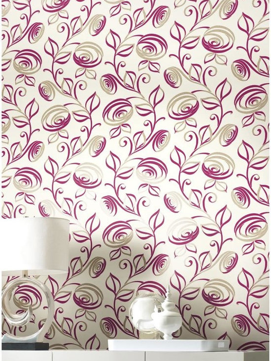 Spiral Dance Wallpaper - WallpapHer - It's a fantasy world where cosmic vines in a spiral dance produce galactic leaves and solar flare flowers! This retro wallcovering is enhanced by the contrasting colors and both shining and matte inks. Five color selections include a bright pearl, magenta and champagne cocktail combination.