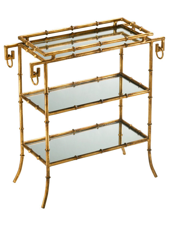 Kathy Kuo Home - Hollywood Regency Gold Leaf Gilt Bamboo Mirror End Table - Bamboo has been used for centuries and was most popular in Georgian and Regency furniture, which is where Hollywood Regency borrowed its style. This faux bamboo gilt bar tray table, once highly popular during the 60's are now making a comeback invoking that old Hollywood glamour.