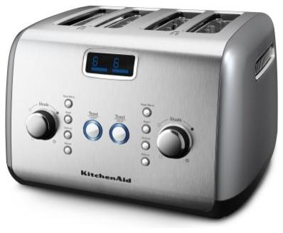 KitchenAid KMT423 4 Slice Digital Motorized Toaster - Contour Silver modern-toasters